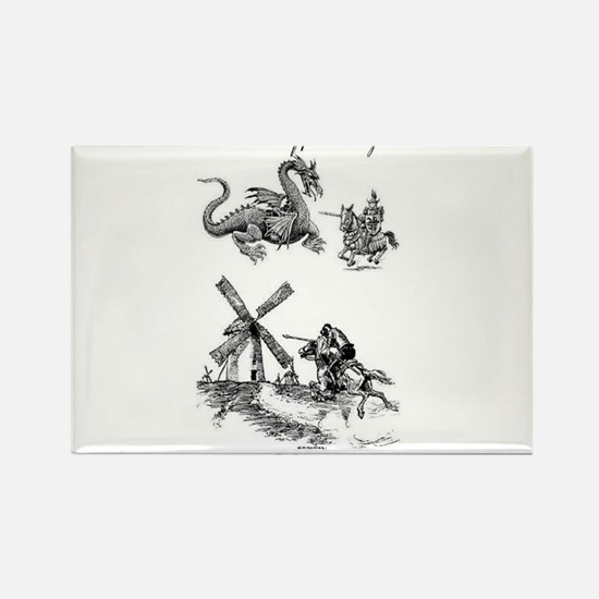 Dragons or Windmills Rectangle Magnet