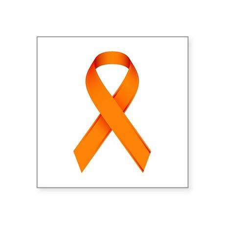 orange ribbon square sticker 3 x 3 by togetherforlife1. Black Bedroom Furniture Sets. Home Design Ideas