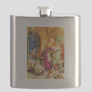 Mrs. Claus & The Elves at the North Pole Flask