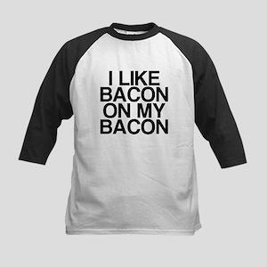 I Like Bacon on my Bacon Kids Baseball Jersey