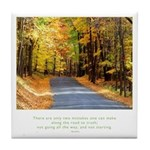 Buddha Road to Truth Quote Tile Coaster