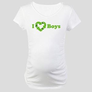 I love Boys - Recycle Heart Maternity T-Shirt