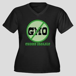 Say No to GMO Women's Plus Size V-Neck Dark T-Shir