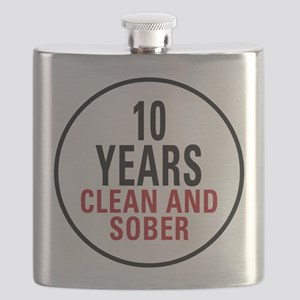 10 Years Clean & Sober Flask