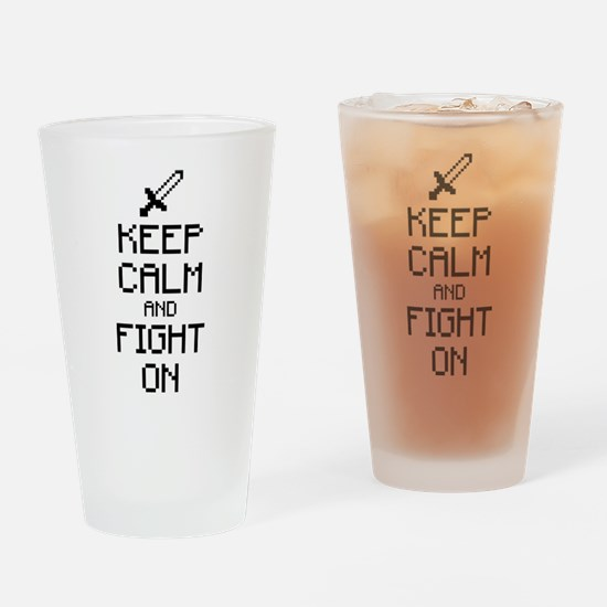 Keep calm and fight on 1c Drinking Glass