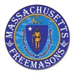 Massachusetts Masons Round Car Magnet