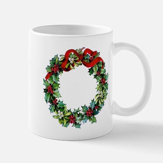 Holly Christmas Wreath Mug