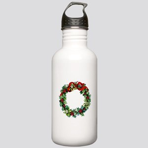 Holly Christmas Wreath Stainless Water Bottle 1.0L
