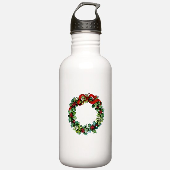 Holly Christmas Wreath Water Bottle