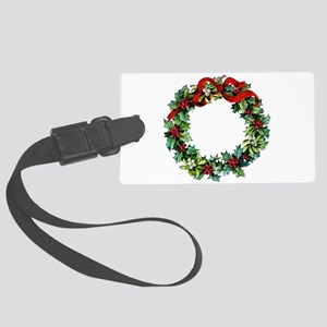 Holly Christmas Wreath Large Luggage Tag