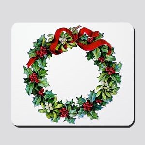 Holly Christmas Wreath Mousepad