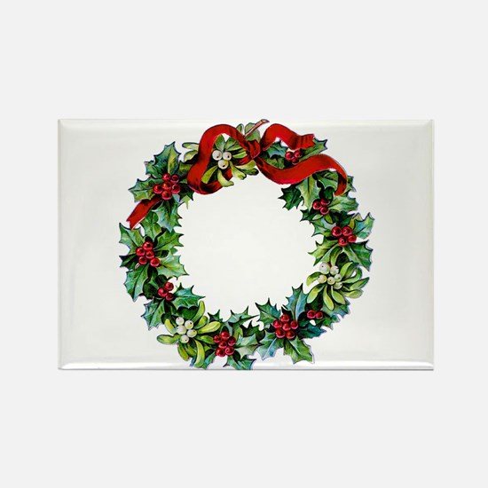 Holly Christmas Wreath Rectangle Magnet