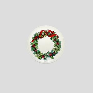 Holly Christmas Wreath Mini Button