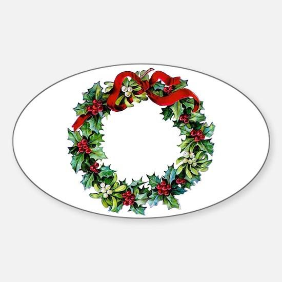 Holly Christmas Wreath Sticker (Oval)