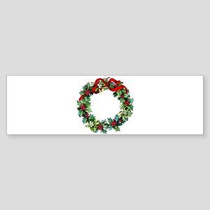 Holly Christmas Wreath Sticker (Bumper)