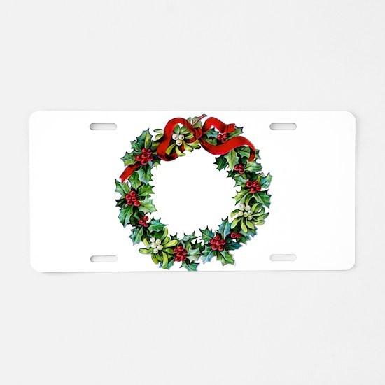 Holly Christmas Wreath Aluminum License Plate