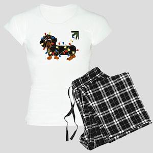 Dachshund (Blk/Tan)... Women's Light Pajamas