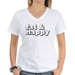 Fat and Happy Women's V-Neck T-Shirt