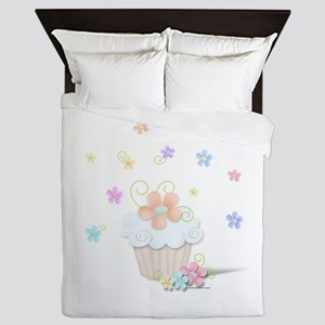 Cupcakes and Flowers Queen Duvet