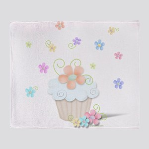 Cupcakes and Flowers Throw Blanket