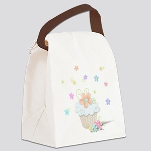 Cupcakes and Flowers Canvas Lunch Bag