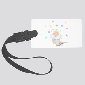 Cupcakes and Flowers Large Luggage Tag