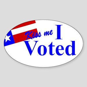Kiss Me, I Voted Sticker (Oval)