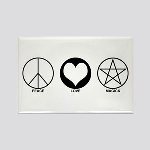 Peace Love and Magick on light Rectangle Magnet