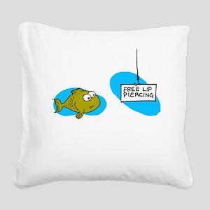 Lip Piercing Square Canvas Pillow