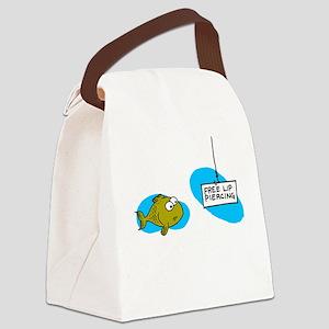 Lip Piercing Canvas Lunch Bag