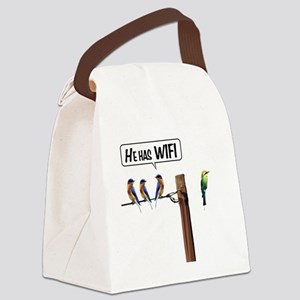 He has WiFi Canvas Lunch Bag