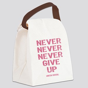 Breast Cancer Never Give Up Canvas Lunch Bag