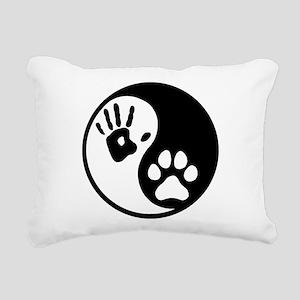 Human & Dog Yin Yang Rectangular Canvas Pillow
