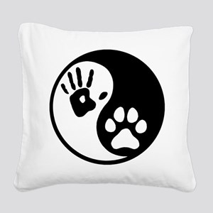 Human & Dog Yin Yang Square Canvas Pillow