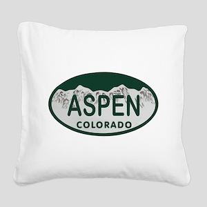 Aspen Colo License Plate Square Canvas Pillow