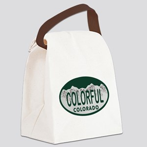 Colorful Colo License Plate Canvas Lunch Bag