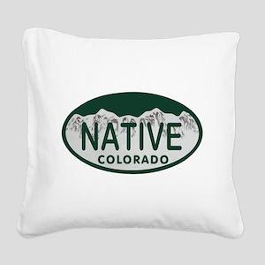 Native Colo License Plate Square Canvas Pillow