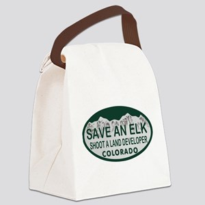 Save an Elk Colo License Plate Canvas Lunch Bag