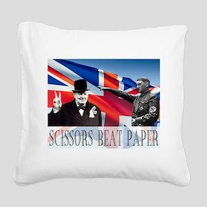 Scissors Beat Paper Square Canvas Pillow
