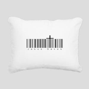 Bar Code Jesus Saves Rectangular Canvas Pillow