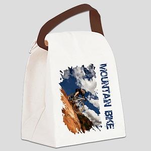 Mountain Bike Blue Sky Canvas Lunch Bag