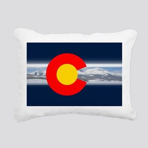 CO_Flag_Mountain Rectangular Canvas Pillow