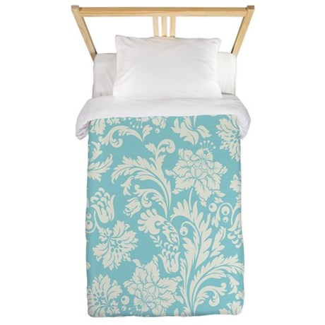 Turquoise and Cream Damask Twin Duvet