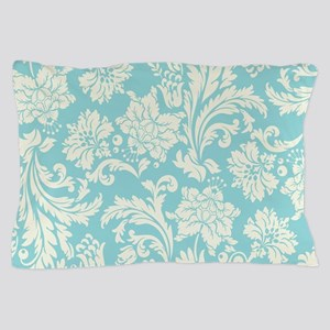 Turquoise and Cream Damask Pillow Case