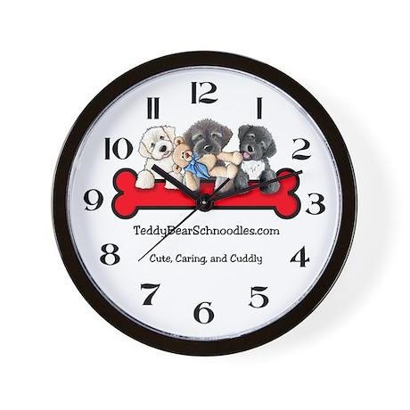 TeddyBear Schnoodle Logo Wall Clock