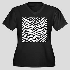 White Tiger Animal Print Women's Plus Size V-Neck