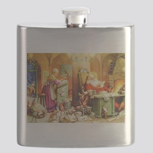Santa & Mrs. Claus at the North Pole Flask