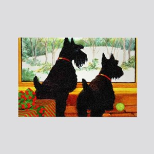 A Scotty Dog Christmas Rectangle Magnet