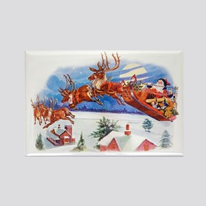 Santa In His Flying Sleigh Rectangle Magnet