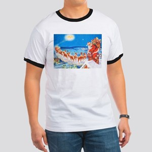 Santa Claus Up On The Rooftop Ringer T